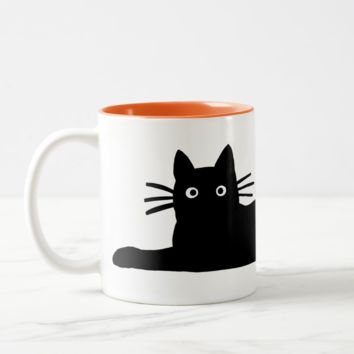 Cool Black Kitty Cat Perfect Feline Lover's Two Tone Coffee  Mug