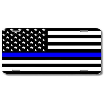 Thin Blue Line Police Officers Print License Plate Car Tag