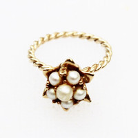 Vintage Gold and Pearl Ring- Rope Band, Petite Ring