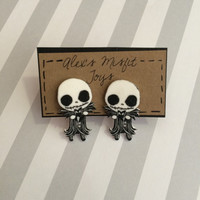 Cute Nightmare Before Christmas Jack Skellington Clinging Fake Gauge Earrings
