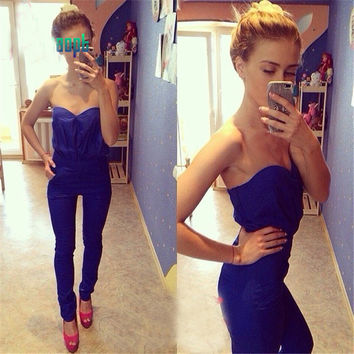 Blue Strapless Jumpsuit with Pocket