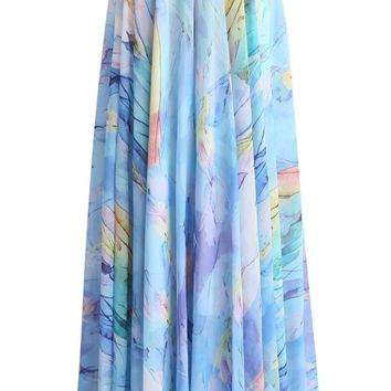 Ethereal Tulip Watercolor Chiffon Maxi Skirt