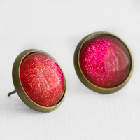Berry Pie Earrings in Antique Bronze - Deep Magenta and Red Shimmery Studs