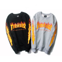 Thrasher Flame Print Fashion Round Neck Top Sweater Pullover