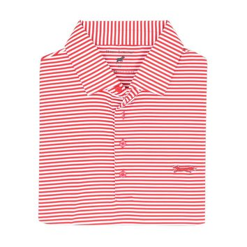 Longshanks Striped Performance Polo in Crimson & White by Country Club Prep