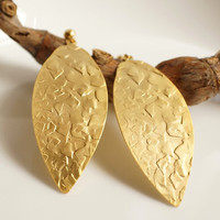 Rita- Gold Plated Matte Hammered Leaf Earrings