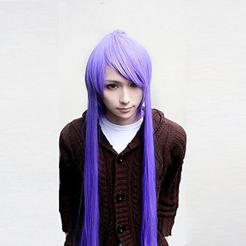 Kamui Gakupo Purple 100cm Long Straight Cosplay Costume Wig + 1 Ponytail+Wig Cap