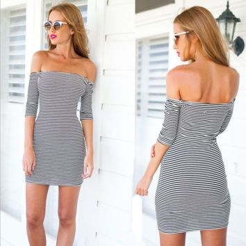Striped sleeves backless dress sexy cultivate one's morality