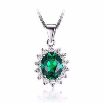 ON SALE - Russian Halo Oval Cut 2.5CT Nano Simulated Emerald IOBI Precious Gems Pendant Necklace