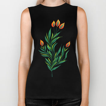 Abstract Green Plant With Orange Buds Biker Tank by borianagiormova