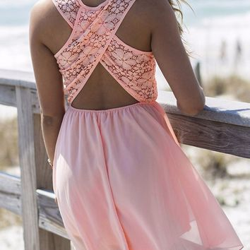Pink Cross Back Lace Patchwork Chiffon Dress