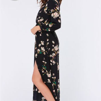 LULUS Exclusive Sweet Peonies Navy Floral Print Maxi Dress