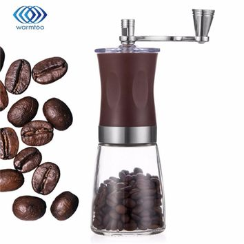 160ml Portable Manual HandCrank Coffee Bean Spice Hand Grinder Mill Kitchen Tool  Coffee Stainless Steel ABS Glass