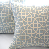 Light Blue geometric pillow cover 18 x 18