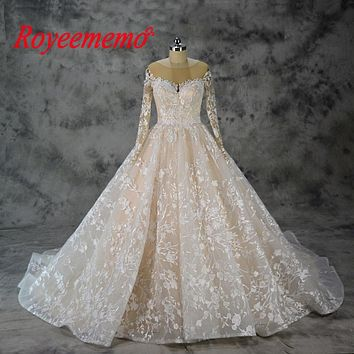 Vintage Long Sleeve Wedding Dress Ball Gown