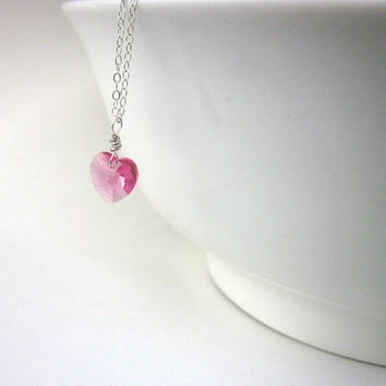 Pink Heart Swarovski Necklace, Heart Necklace, Pink Heart, Swarovski, Sterling Silver Necklace, Gift Idea, Gift for Her, Anniversary Gift,