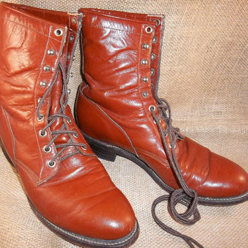 Vintage Red Brick Lace Up Boots Ladies 8D 8 D by TheMaineCoonCat