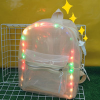 Candy Color Flashing Transparent Shoulder Bag Backpack