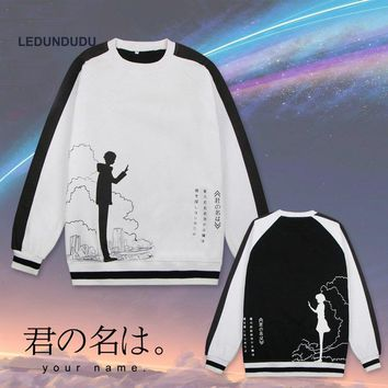 Cartoon kimi no na wa Miyamizu Mitsuha You Name Tachibana Taki Pullover Hoodies Sweatshirts Printed Hooded Cosplay Costume S-3XL