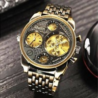 Luxury Mens Full Stainless Steel Watch Big Dial Vintage Casual Watches Military Wristwatch Black/Bronze Clock  Reloj Hombre [8834039116]
