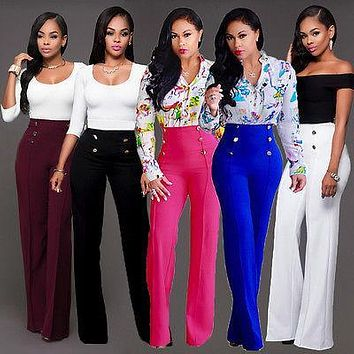 Women Casual Summer Palazzo High Waist Career Wide Leg Trousers Loose Pants New Ladies Womens Pant Clothing