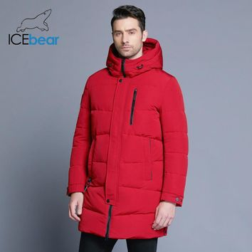 ICEbear Hot Sale Winter Warm Windproof Hood Men Jacket Warm Men Parkas High Quality Parka Fashion Casual Coat MWD18856D