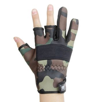Outdoor Exposed Three Fingers Sun Protection Non-slip Gloves Fishing Riding Running Gym Warm Water-proof Gloves