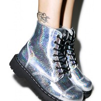 T.U.K. Mermaid Holographic 7 Eye Boot | Dolls Kill