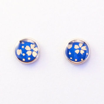 Sakura cherry blossom earrings, tiny blue & gold ear studs, washi paper, origami, small Chiyogami earrings, hypoallergenic stainless steel