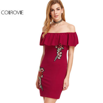 COLROVIE Off the Shoulder Dresses Womens Dresses New Arrival Burgundy Embroidered Flower Applique Off The Shoulder Ruffle Dress
