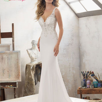 Dream Angel Sexy Backless Deep V Neck Mermaid Wedding Dress 2017 Luxury Appliques Beaded Button Trumpet Bridal Dress Plus Size