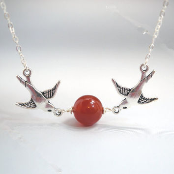 Red Carnelian Necklace   Couple Bird Tiny Silver Necklace  Carnelian Earrings  Red Stone Bird Necklace
