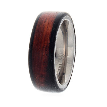 Mens wedding band, wood wedding band, Titanium wood ring, rosewood