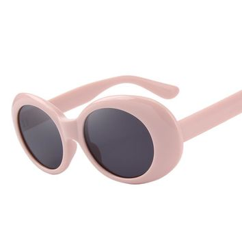 Womens Retro Pink & Red Oval Oversized Frame Sunglasses