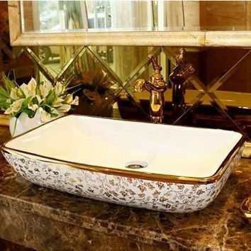 Rectangular Bathroom Lavabo Ceramic Counter Top Wash Basin Cloakroom Hand Painted Vessel Sink