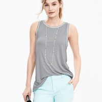 Sleeveless Rib-Trim Top