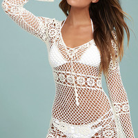 Sea and Sand Cream Crochet Cover-Up