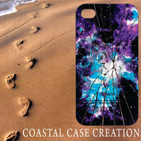 Apple iPhone 4 4G 4S 5G Hard Plastic or Rubber Cell Phone Case Cover Original Trendy Stylish Cracked iPhone Galaxy Design
