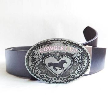 CowGirl Up Belt Buckle with Belts