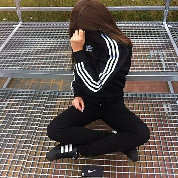 adidas Classic Originals Black Three Stripe Bomber Jacket