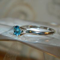 Blue Diamond Promise Ring