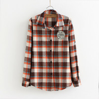 Long-Sleeve Plaid Patch Button Collared Knitted Shirt