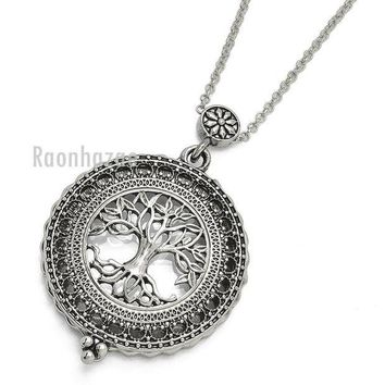 LMFA8C New Silver 5X Magnifying Glass Tree of Life Pendant 31' Chain Necklace SJ045S