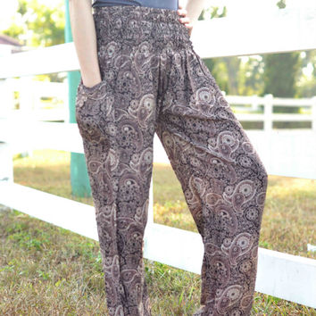 Brown  Hippie Pants palazzo pants baggy pants/bohemin style/online boutiques/jumpsuit uk/Yoga pants/boho clothing/Harem pants/boho pants
