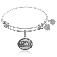 Expandable Bangle in White Tone Brass with Navy Honor Courage Commitment Symbol