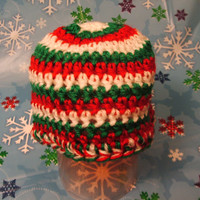 Holiday Special Crocheted Newborn Holiday Stripe Beanie for Christmas Ready to Ship