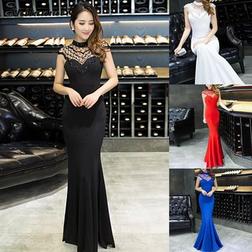 Formal Evening Gowns Mermaid High Neck Wedding/ Prom Gown