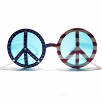 FREE SHIPPING, Round red white blue american flag peace sign novelty glasses or sunglasses w/ rhinestones & glitter, 4th of july accessory