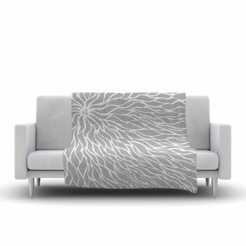"NL Designs ""Swirls Grey"" Wave Pattern Fleece Throw Blanket"