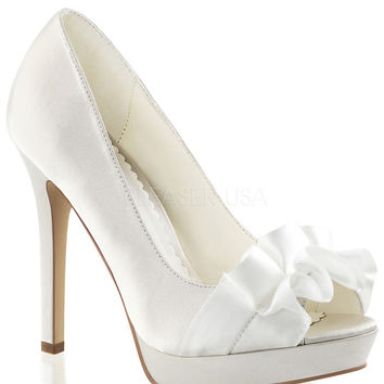 Fabulicious Lumina Ivory Satin Peep Toe Pumps